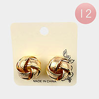 12PCS - Metal Knot Stud Earrings