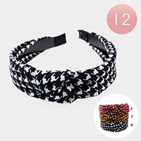 12PCS - Mini Houndstooth Knot Headbands