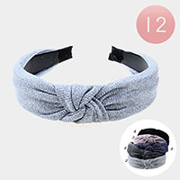 12PCS - Glitter Fabric Knot Headbands