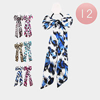 12PCS - Leopard Bow Hair Bands
