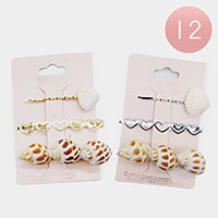12 Set of 3 - Shell Bobby Pins