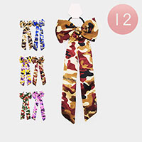 12PCS - Camo Pattern Bow Hair Bands