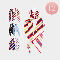 12PCS - Stripe Bow Scrunchies Hair Bands