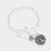 Tree of Life Charm Toggle Link Bracelet