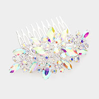 Marquise Crystal Rhinestone Pave Floral Hair Comb