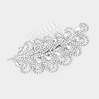 Teardrop Crystal Rhinestone Sprout Hair Comb