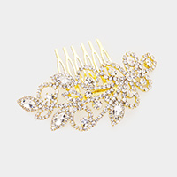 Marquise Crystal Rhinestone Floral Sprout Hair Comb
