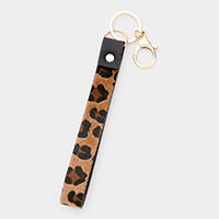 Leopard Faux Leather Key Chain