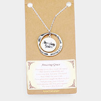 Amazing Grace Religious Pendant Long Necklace