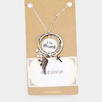 I am Blessed  Religious Pendant Long Necklace