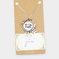 Walk By Faith Religious Pendant Long Necklace