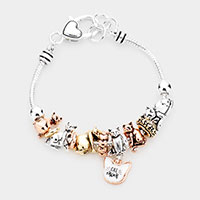 Multi Bead Cat Mom Charm Metal Bracelet