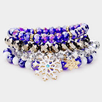4PCS - Snowflake Crystal Bead Stretch Layered Bracelets