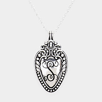 Antique Pattern Sliver Metal Monogram Pendant Necklace