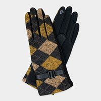 Argyle Pattern Buckle Accent Smart Gloves