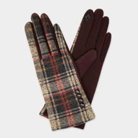 Madras Plaid With Button Accent Smart Gloves