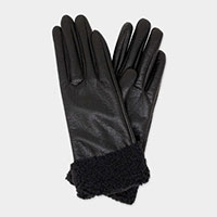 Faux Leather Saggy Fur Up Smart Soft Gloves