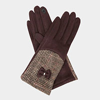 Half Solid Half Glen Plaid With Bow Smart Gloves