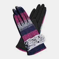 Wool Feel Bunny Accent Faux Suede Palm Gloves