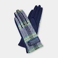 Herringbone Stitch Buckle Accent  Smart Gloves