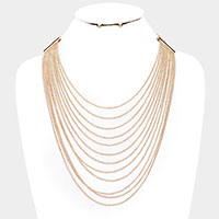Multi Layered Thin Metal Chain Necklace