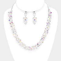 Crystal Rhinestone Sprout Vine Evening Necklace