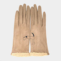 Dog Embroidery and Fur Up Accent Faux Suede Smart Gloves