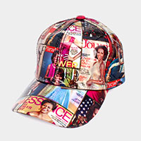 Mixed Picture Print Patent Baseball Cap