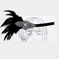 Crystal Bead Peacock Feather Glitter Stretch Headband