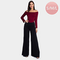 Mid Rise Foldable Waistband Wide Leg Pants