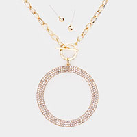 Crystal Rhinestone Pave Open Circle Toggle Necklace