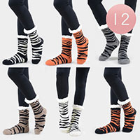 12PAIRS - Faux Sherpa Tiger Striped Slipper Socks