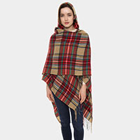 Plaid pattern Hooded and Fringes Poncho