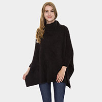 Turtleneck Solid Color Batwing Sweater