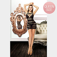 Queen Size Premium Quality Stripes Fishnet Panels Chemise Bodystocking