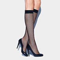 Mesh Black Sheer Woman Fishnet Knee High Fashion Socks
