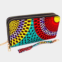 Double Zipper Abstract Pattern Wallet