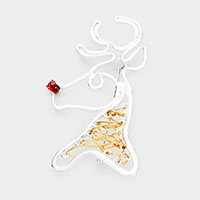 Christmas Metal Wire Rudolph Pin Brooch