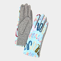Multi Colored Thread Ways Line Embroidery Smart Glove