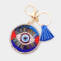 Evil Eye Bead Tassle Key Chain