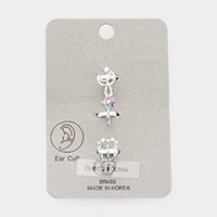 3PCS- Brass Metal Colorful Cubic Zirconia Ear Cuffs