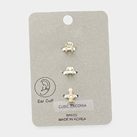 3PCS- Brass Metal Cubic Zirconia Ear Cuffs