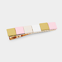 Color Block Resin Square Snap Alligator Hair Clip