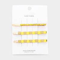 3PCS - Resin Square Color Block Bead Bobby Pins
