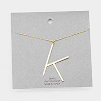 Brass Monogram Metal Pendant Necklace