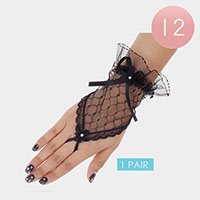 12PCS - Lace Bow Evening Fingerless Gloves