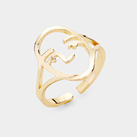 Brass Abstract Face Metal Ring