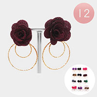 Rose Flower Metal Open Circle Earrings