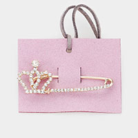 Crystal Crown Safety Pin Rhinestone Pave Pin Brooch