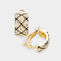 Rhinestone Pave Clip On Metal Earrings